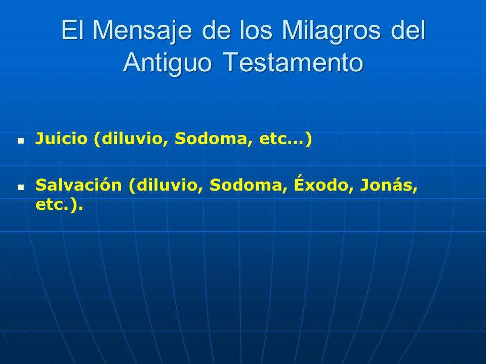 El Mensaje de los Milagros del Antiguo Testamento Juicio (diluvio, Sodoma, etc…) Salvación (diluvio, Sodoma, Éxodo, Jonás, etc.).