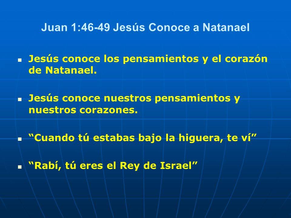 Juan 1:46-49 Jesús Conoce a Natanael Jesús conoce los pensamientos y el corazón de Natanael. Jesús conoce nuestros pensamientos y nuestros corazones.