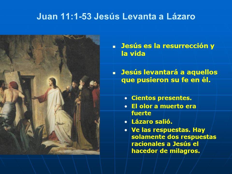 Juan 11:1-53 Jesús Levanta a Lázaro Jesús es la resurrección y la vida Jesús levantará a aquellos que pusieron su fe en él. Cientos presentes. El olor