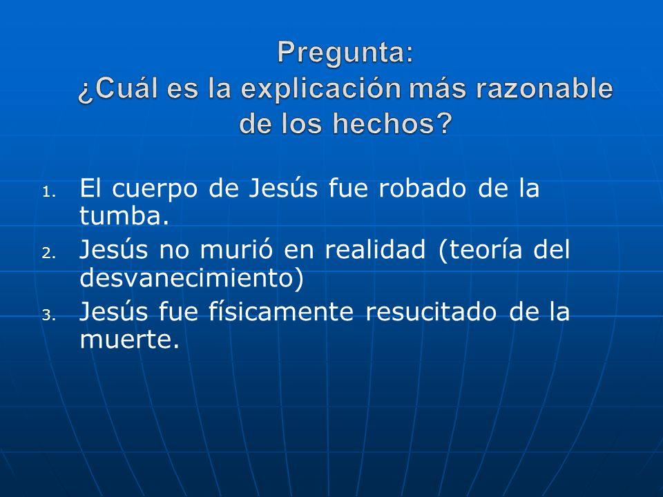 1. 1. El cuerpo de Jesús fue robado de la tumba. 2. 2. Jesús no murió en realidad (teoría del desvanecimiento) 3. 3. Jesús fue físicamente resucitado