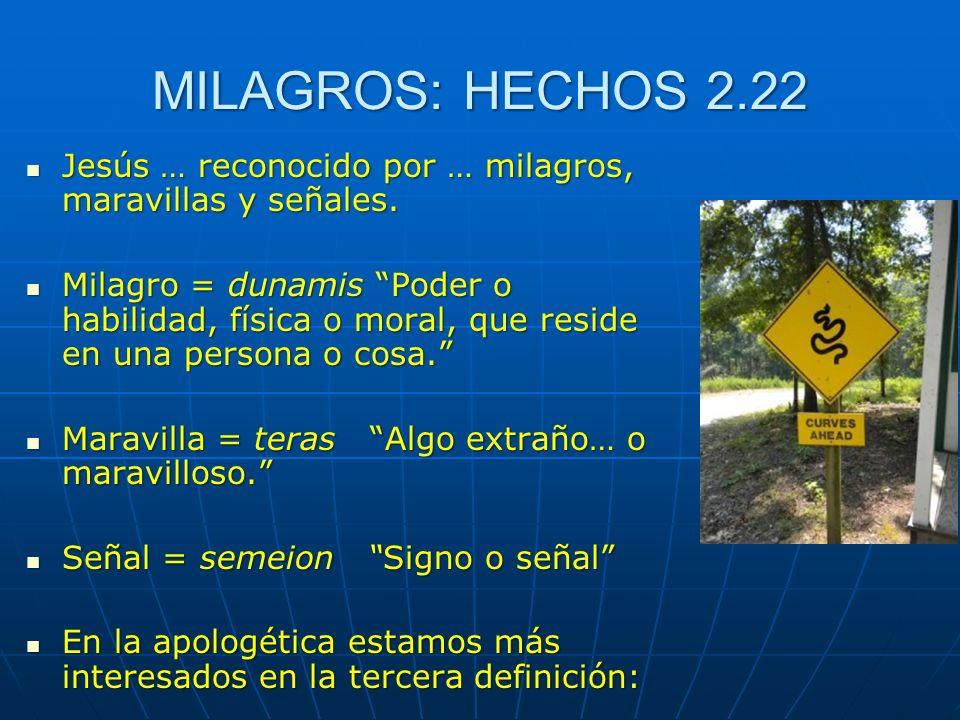 MILAGROS: HECHOS 2.22 Jesús … reconocido por … milagros, maravillas y señales. Jesús … reconocido por … milagros, maravillas y señales. Milagro = duna