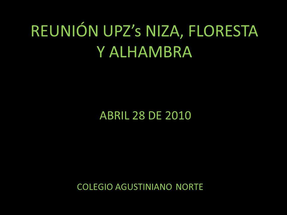 REUNIÓN UPZs NIZA, FLORESTA Y ALHAMBRA ABRIL 28 DE 2010 COLEGIO AGUSTINIANO NORTE