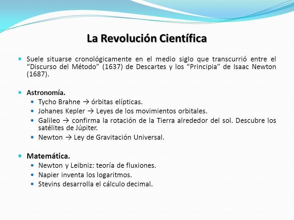 La Revolución Científica Suele situarse cronológicamente en el medio siglo que transcurrió entre el Discurso del Método (1637) de Descartes y los Prin