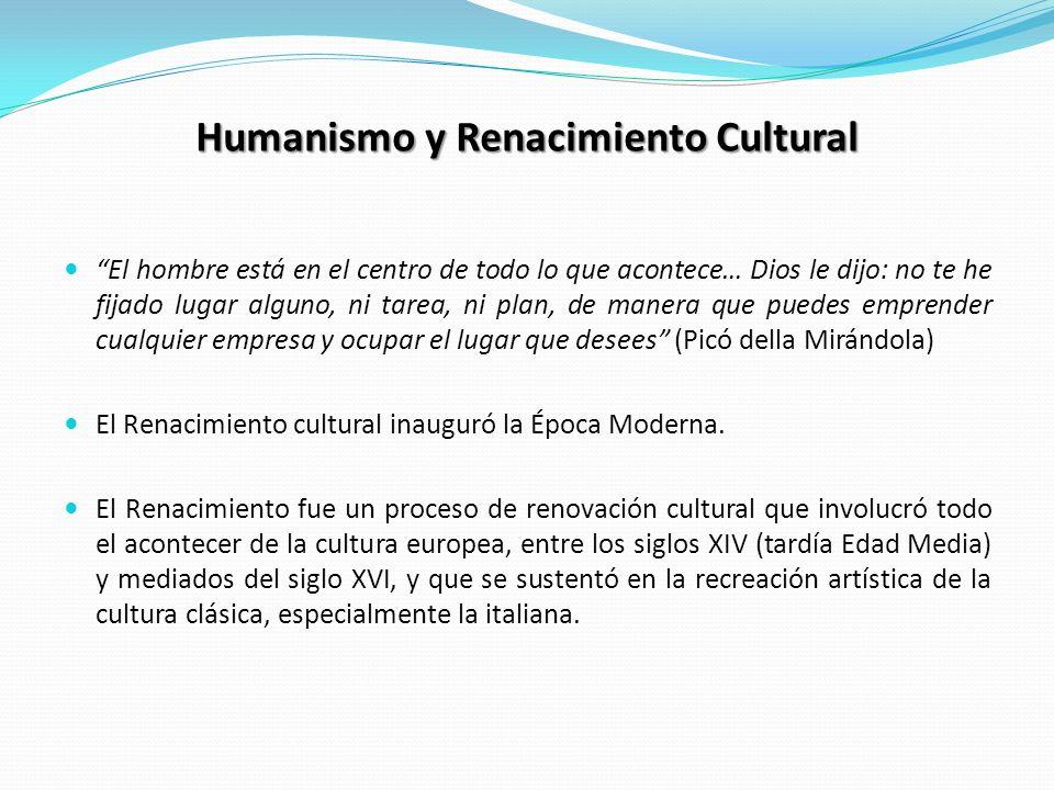 Humanismo y Renacimiento Cultural El hombre está en el centro de todo lo que acontece… Dios le dijo: no te he fijado lugar alguno, ni tarea, ni plan,
