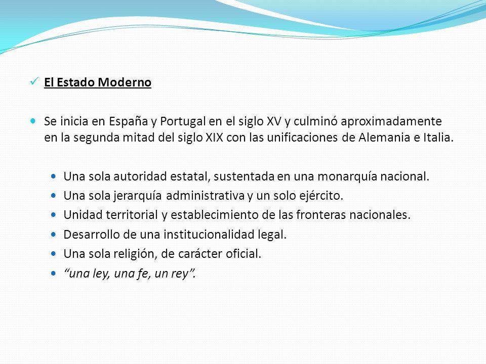 El Estado Moderno Se inicia en España y Portugal en el siglo XV y culminó aproximadamente en la segunda mitad del siglo XIX con las unificaciones de A