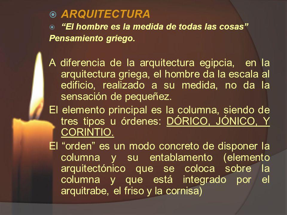 ARQUITECTURA El hombre es la medida de todas las cosas Pensamiento griego. A diferencia de la arquitectura egipcia, en la arquitectura griega, el homb