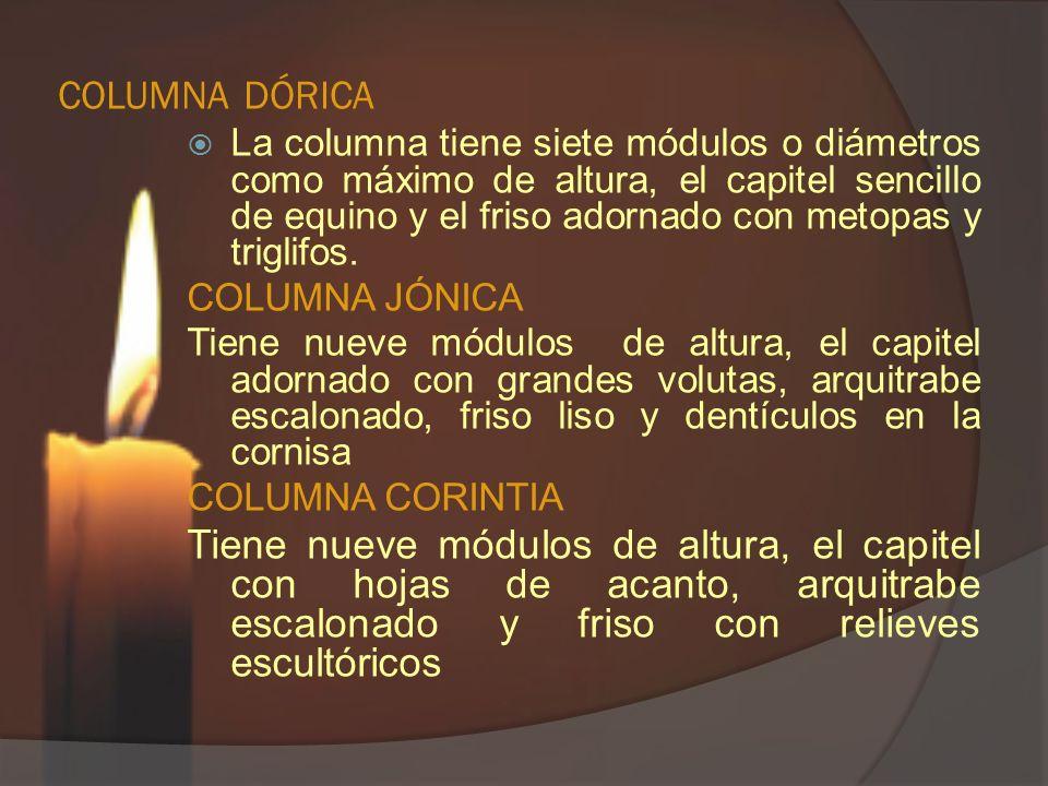 COLUMNA DÓRICA La columna tiene siete módulos o diámetros como máximo de altura, el capitel sencillo de equino y el friso adornado con metopas y trigl