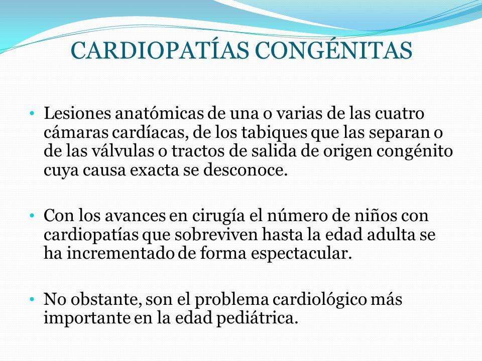 CARDIOPATÍAS CONGÉNITAS Lesiones anatómicas de una o varias de las cuatro cámaras cardíacas, de los tabiques que las separan o de las válvulas o tract