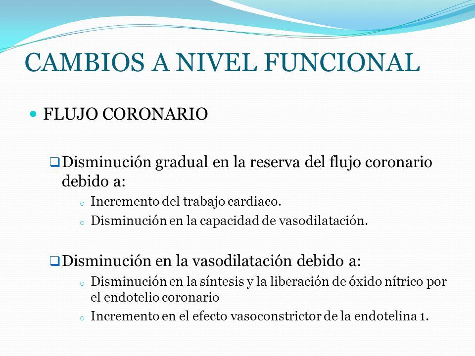 CAMBIOS A NIVEL FUNCIONAL FLUJO CORONARIO Disminución gradual en la reserva del flujo coronario debido a: o Incremento del trabajo cardiaco. o Disminu
