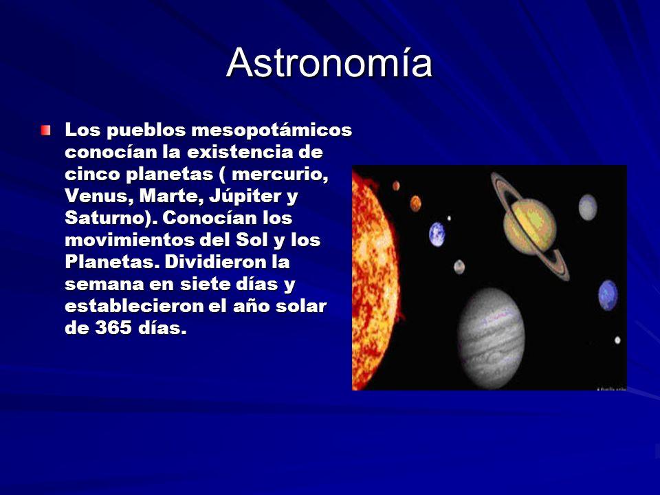 Astronomía Los pueblos mesopotámicos conocían la existencia de cinco planetas ( mercurio, Venus, Marte, Júpiter y Saturno).