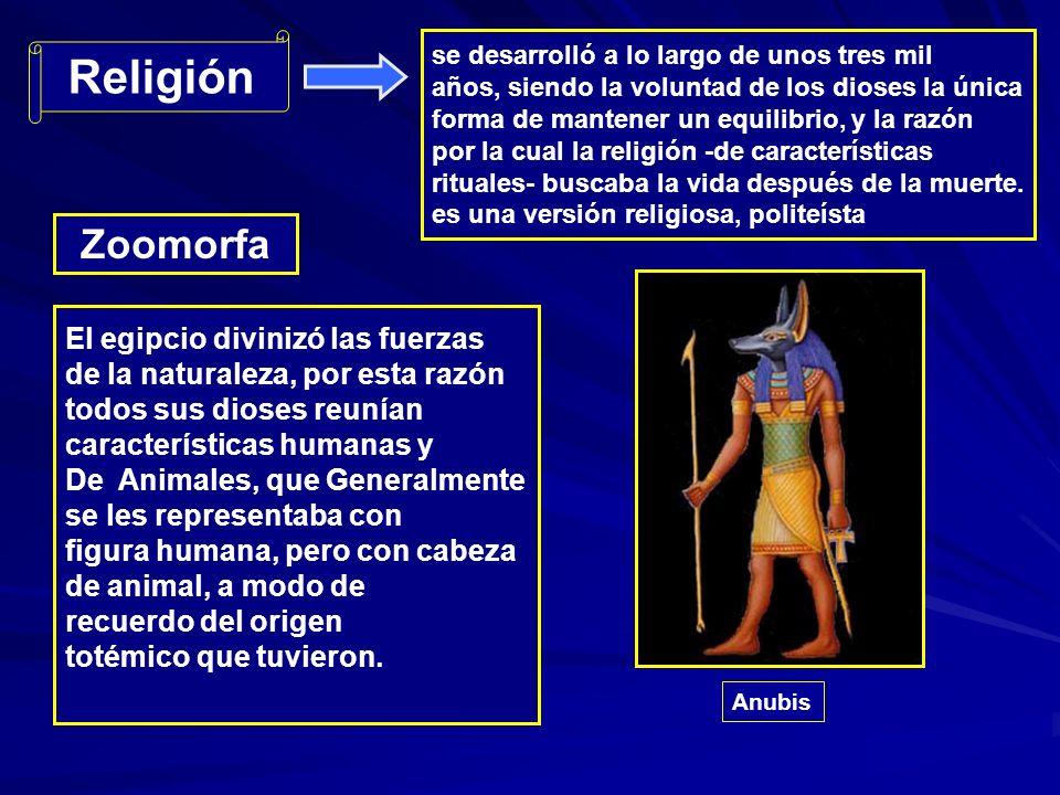 Religión se desarrolló a lo largo de unos tres mil años, siendo la voluntad de los dioses la única forma de mantener un equilibrio, y la razón por la cual la religión -de características rituales- buscaba la vida después de la muerte.