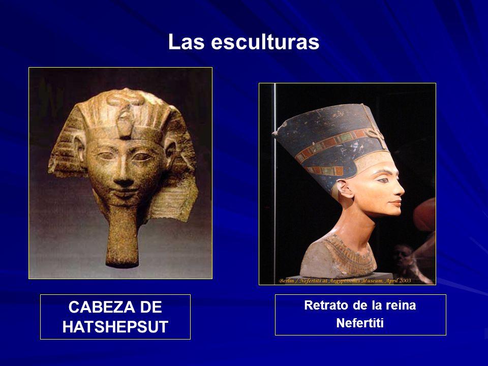 Las esculturas CABEZA DE HATSHEPSUT Retrato de la reina Nefertiti