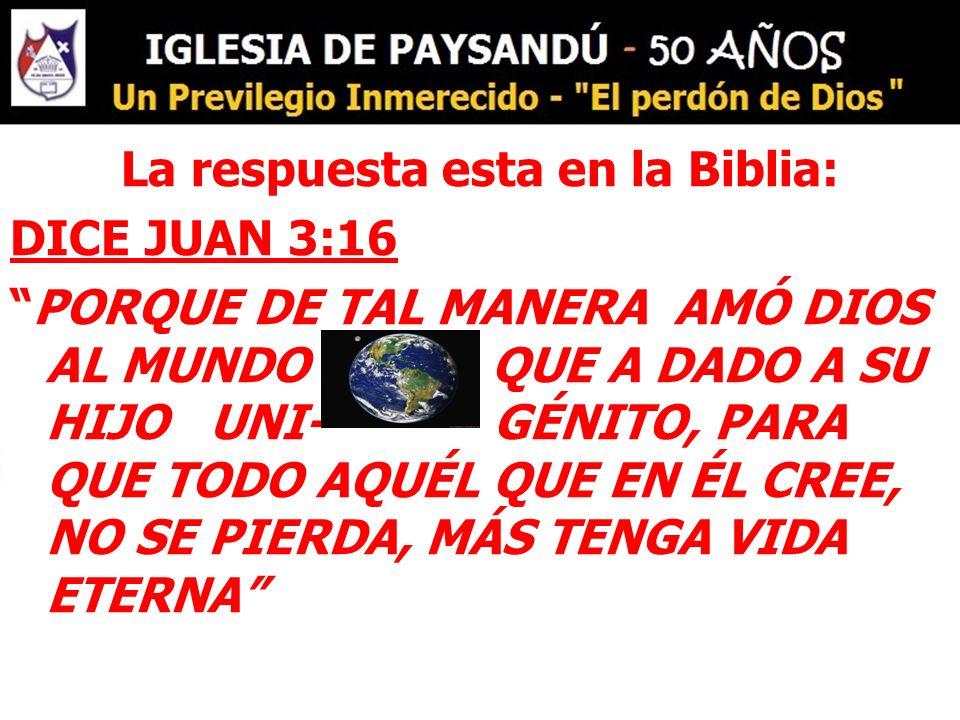 La respuesta esta en la Biblia: DICE JUAN 3:16 PORQUE DE TAL MANERA AMÓ DIOS AL MUNDO QUE A DADO A SU HIJO UNI- GÉNITO, PARA QUE TODO AQUÉL QUE EN ÉL