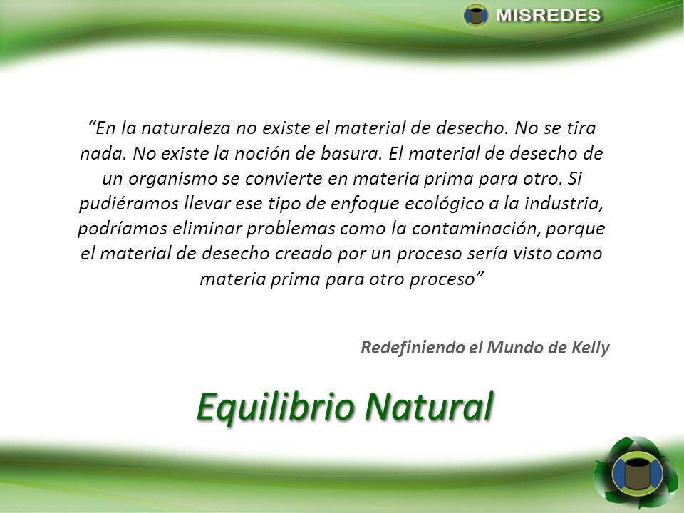 Equilibrio Natural En la naturaleza no existe el material de desecho. No se tira nada. No existe la noción de basura. El material de desecho de un org