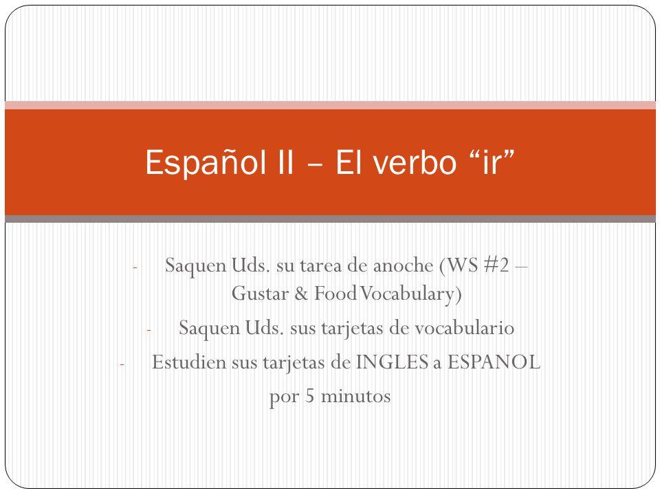 - Saquen Uds.su tarea de anoche (WS #2 – Gustar & Food Vocabulary) - Saquen Uds.