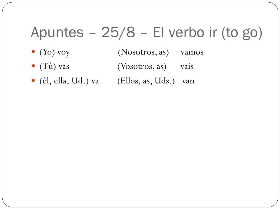 Apuntes – 25/8 – El verbo ir (to go) (Yo) voy (Nosotros, as) vamos (Tú) vas (Vosotros, as) vais (él, ella, Ud.) va (Ellos, as, Uds.) van