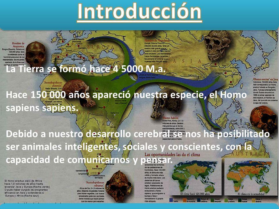 La Tierra se formó hace 4 5000 M.a. Hace 150 000 años apareció nuestra especie, el Homo sapiens sapiens. Debido a nuestro desarrollo cerebral se nos h