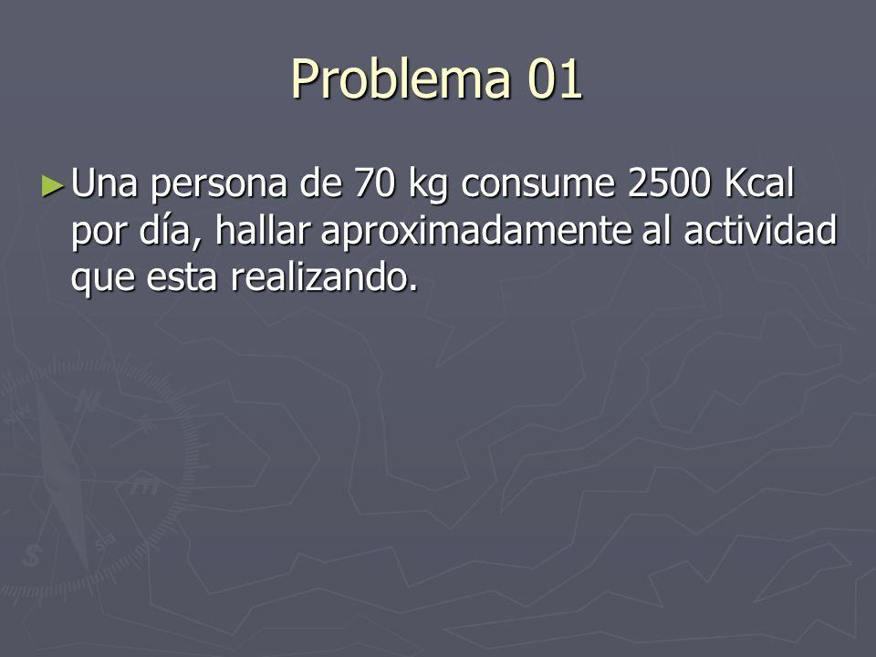 Problema 01 Una persona de 70 kg consume 2500 Kcal por día, hallar aproximadamente al actividad que esta realizando. Una persona de 70 kg consume 2500