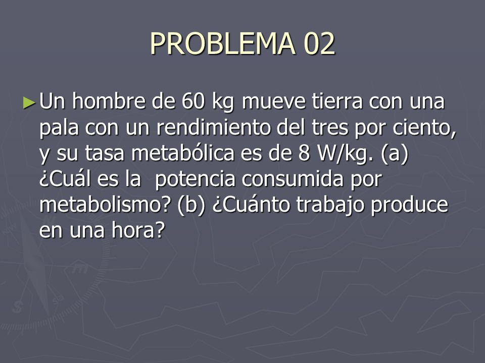 PROBLEMA 02 Un hombre de 60 kg mueve tierra con una pala con un rendimiento del tres por ciento, y su tasa metabólica es de 8 W/kg. (a) ¿Cuál es la po