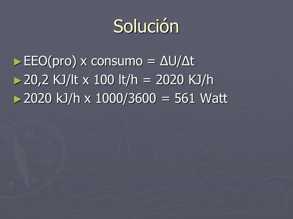 Solución EEO(pro) x consumo = ΔU/Δt EEO(pro) x consumo = ΔU/Δt 20,2 KJ/lt x 100 lt/h = 2020 KJ/h 20,2 KJ/lt x 100 lt/h = 2020 KJ/h 2020 kJ/h x 1000/36