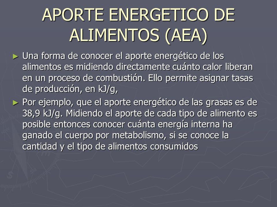 APORTE ENERGETICO DE ALIMENTOS (AEA) Una forma de conocer el aporte energético de los alimentos es midiendo directamente cuánto calor liberan en un pr