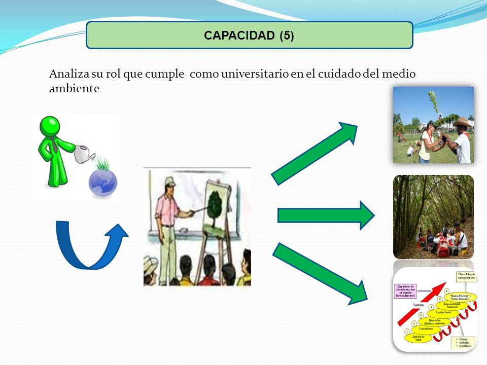 Analiza su rol que cumple como universitario en el cuidado del medio ambiente CAPACIDAD (5)