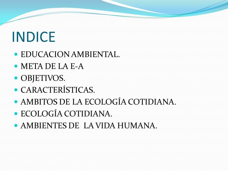 INDICE EDUCACION AMBIENTAL. META DE LA E-A OBJETIVOS. CARACTERÍSTICAS. AMBITOS DE LA ECOLOGÍA COTIDIANA. ECOLOGÍA COTIDIANA. AMBIENTES DE LA VIDA HUMA
