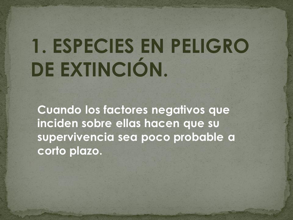 1. ESPECIES EN PELIGRO DE EXTINCIÓN. Cuando los factores negativos que inciden sobre ellas hacen que su supervivencia sea poco probable a corto plazo.