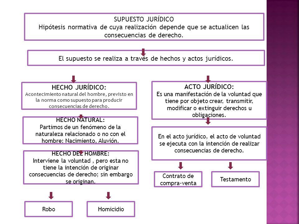 SUPUESTO JURÍDICO Hipótesis normativa de cuya realización depende que se actualicen las consecuencias de derecho. El supuesto se realiza a través de h