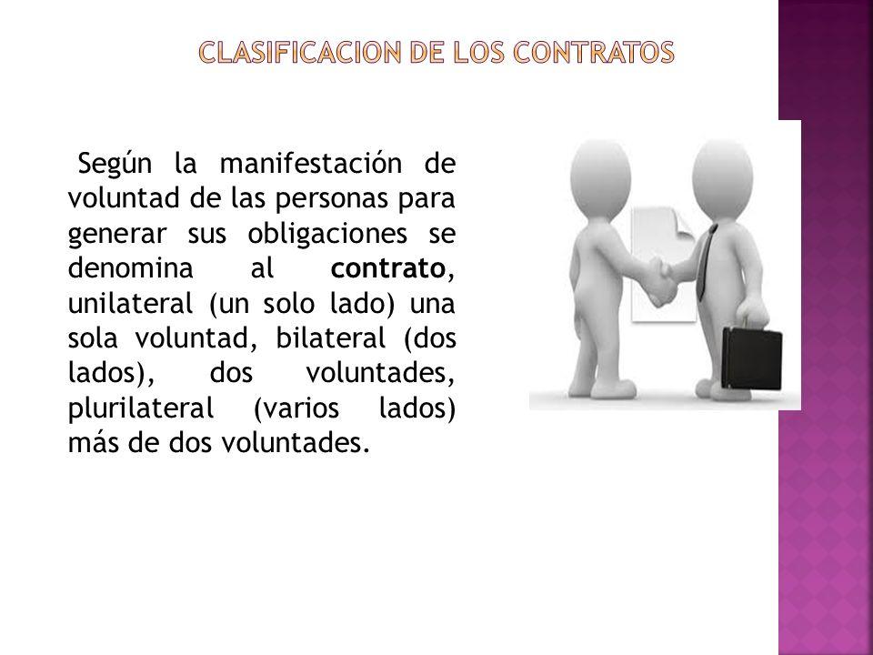 Según la manifestación de voluntad de las personas para generar sus obligaciones se denomina al contrato, unilateral (un solo lado) una sola voluntad,