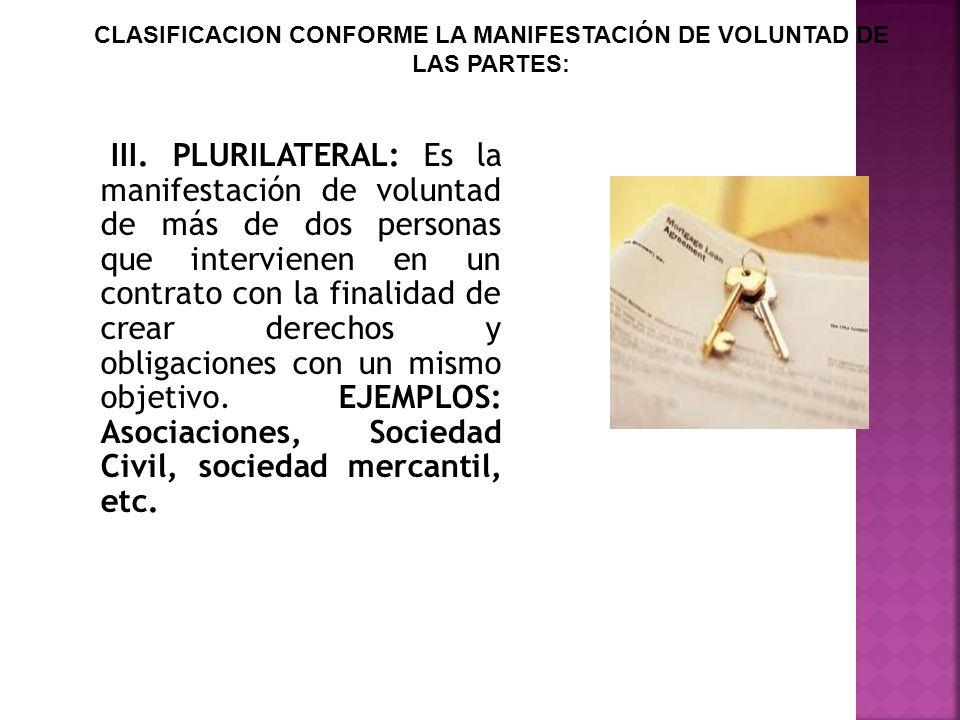 III. PLURILATERAL: Es la manifestación de voluntad de más de dos personas que intervienen en un contrato con la finalidad de crear derechos y obligaci