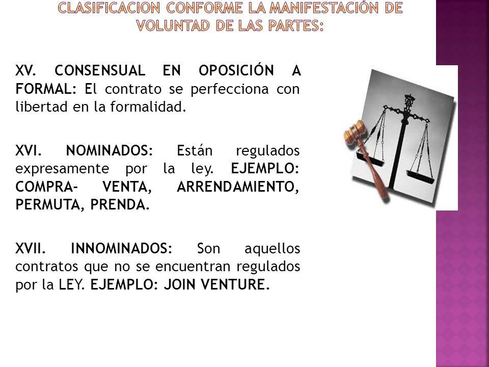 XV. CONSENSUAL EN OPOSICIÓN A FORMAL: El contrato se perfecciona con libertad en la formalidad. XVI. NOMINADOS: Están regulados expresamente por la le