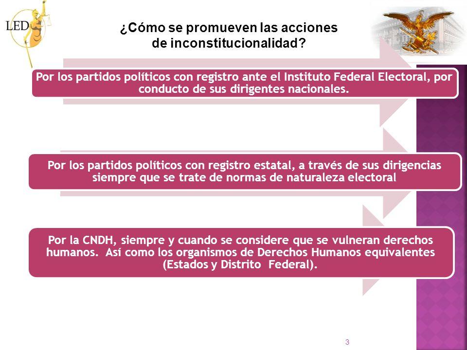 3 ¿Cómo se promueven las acciones de inconstitucionalidad? Por los partidos políticos con registro ante el Instituto Federal Electoral, por conducto d