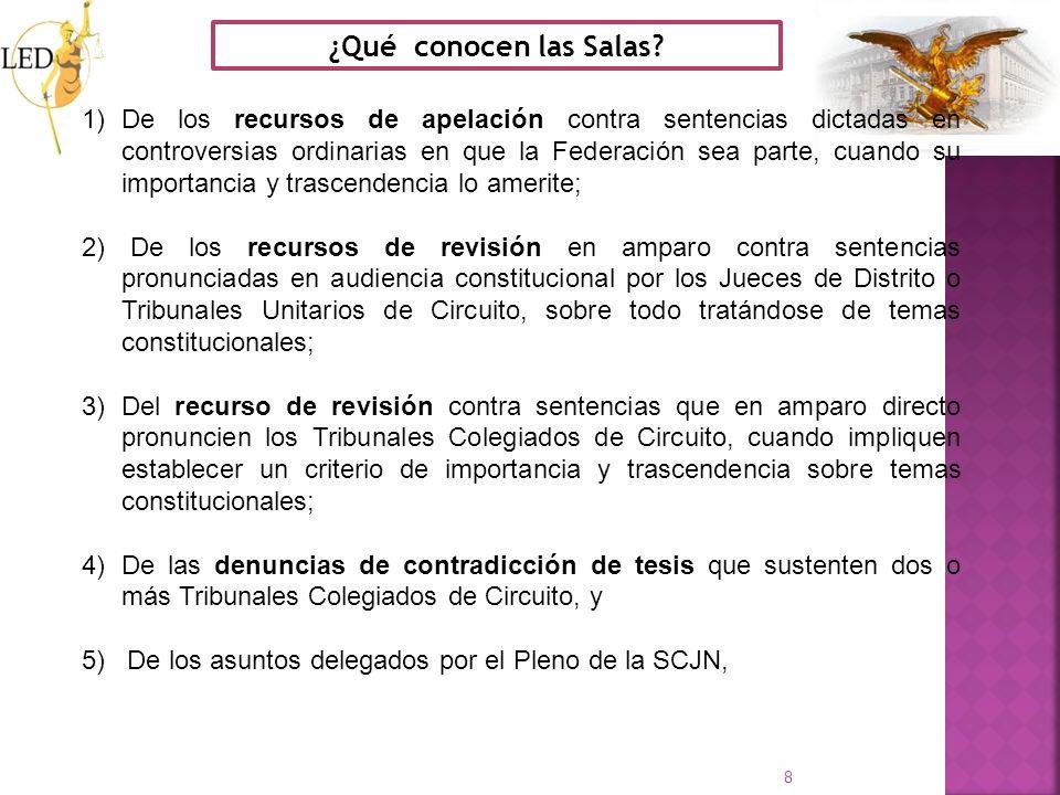 8 ¿Qué conocen las Salas? 1)De los recursos de apelación contra sentencias dictadas en controversias ordinarias en que la Federación sea parte, cuando