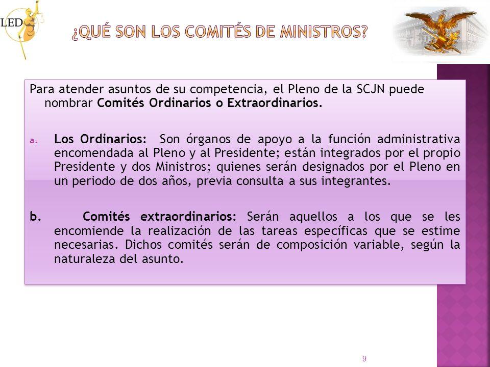 Para atender asuntos de su competencia, el Pleno de la SCJN puede nombrar Comités Ordinarios o Extraordinarios. a. Los Ordinarios: Son órganos de apoy