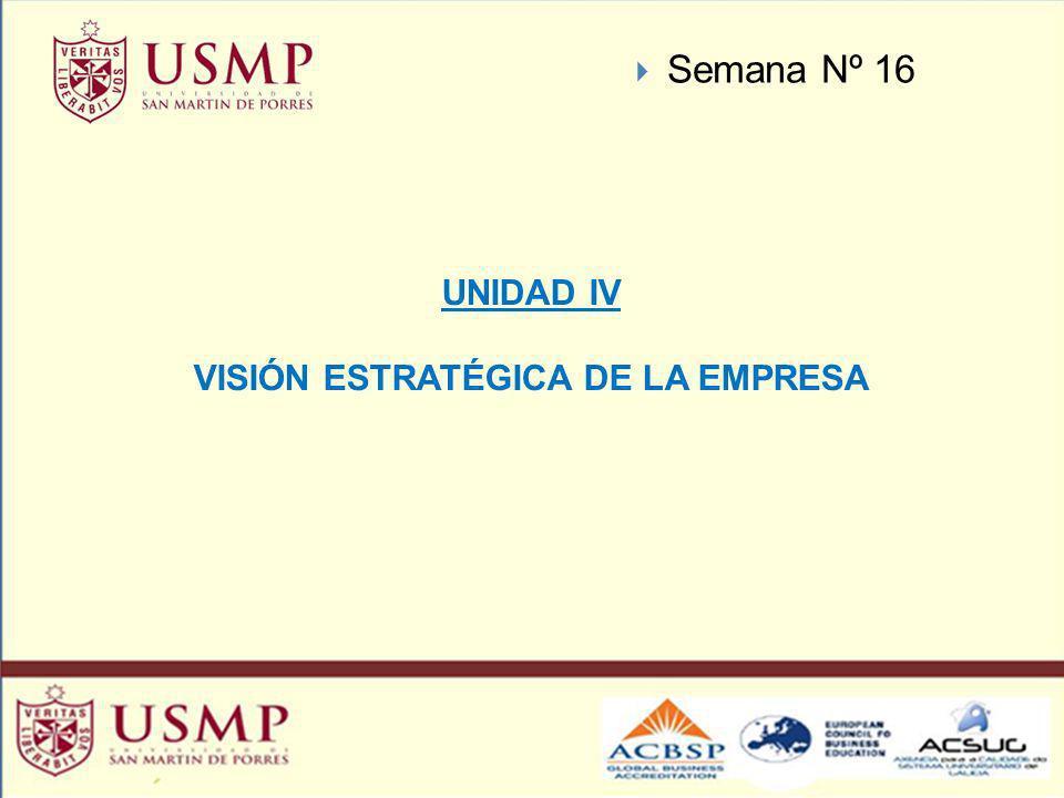 UNIDAD IV VISIÓN ESTRATÉGICA DE LA EMPRESA Semana Nº 16