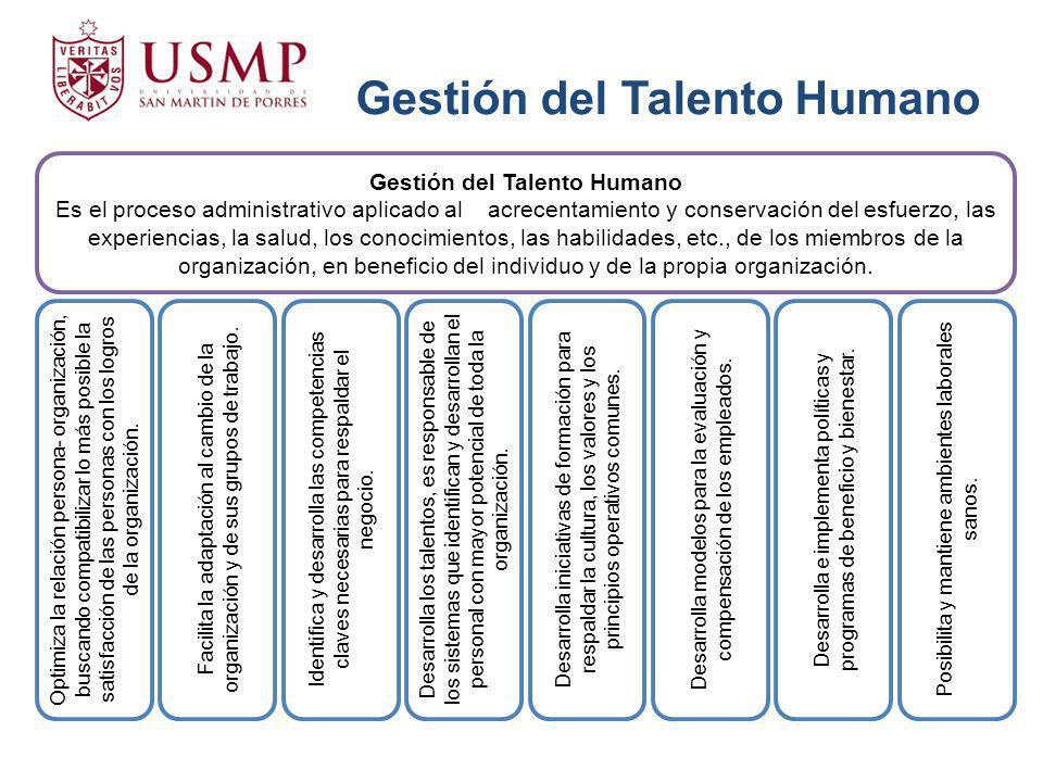 Gestión del Talento Humano Es el proceso administrativo aplicado al acrecentamiento y conservación del esfuerzo, las experiencias, la salud, los conoc
