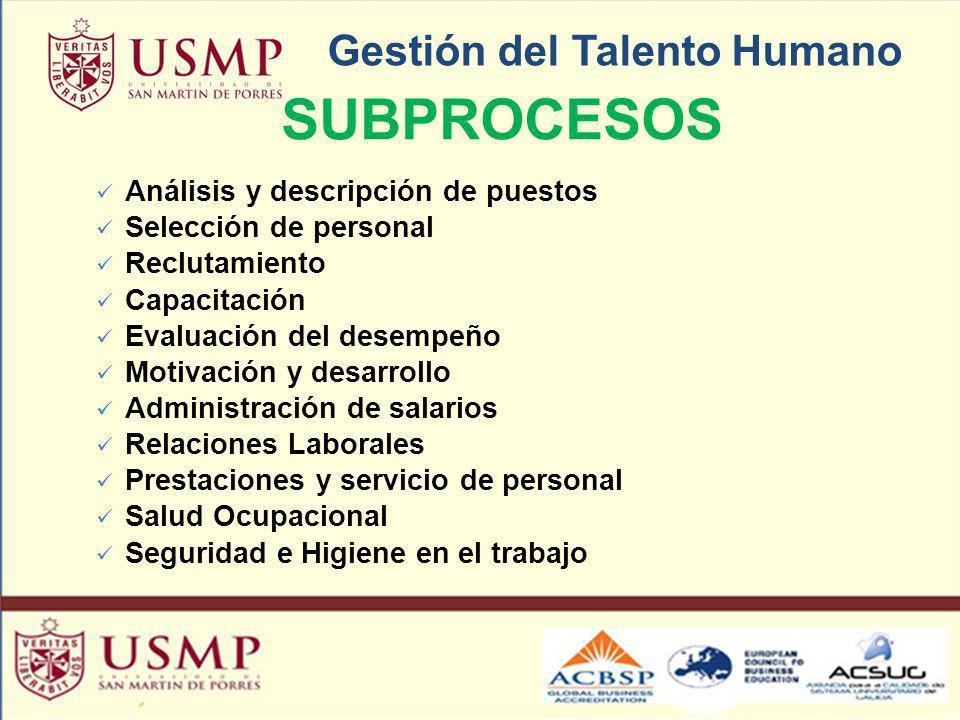 Gestión del Talento Humano SUBPROCESOS Análisis y descripción de puestos Selección de personal Reclutamiento Capacitación Evaluación del desempeño Mot