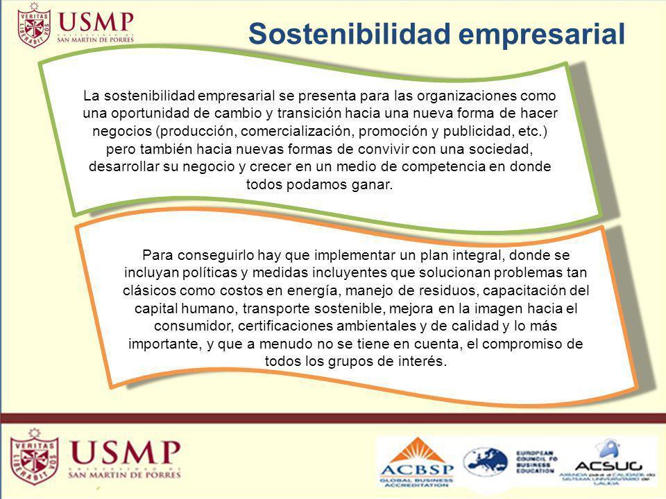 Sostenibilidad empresarial La sostenibilidad empresarial se presenta para las organizaciones como una oportunidad de cambio y transición hacia una nue