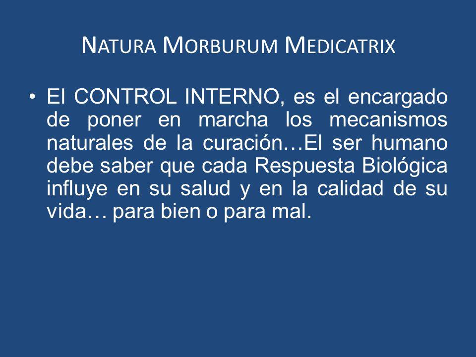 N ATURA M ORBURUM M EDICATRIX El CONTROL INTERNO, es el encargado de poner en marcha los mecanismos naturales de la curación…El ser humano debe saber