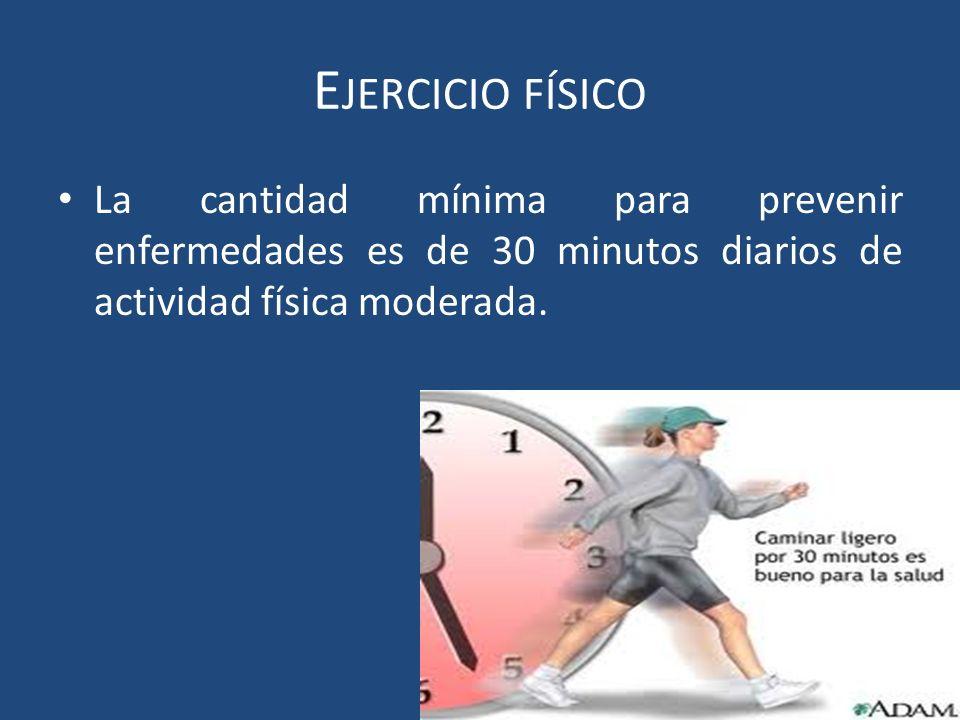 La cantidad mínima para prevenir enfermedades es de 30 minutos diarios de actividad física moderada.