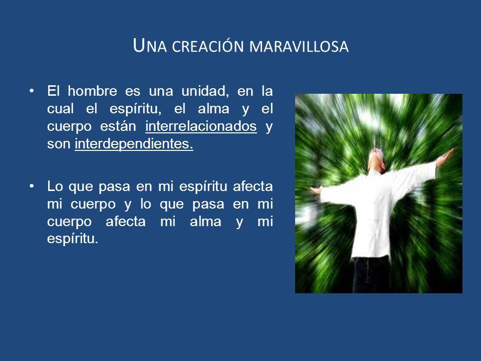 U NA CREACIÓN MARAVILLOSA El hombre es una unidad, en la cual el espíritu, el alma y el cuerpo están interrelacionados y son interdependientes. Lo que