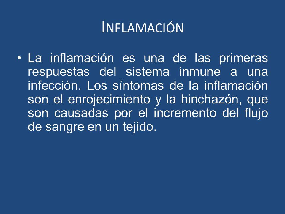 I NFLAMACIÓN La inflamación es una de las primeras respuestas del sistema inmune a una infección. Los síntomas de la inflamación son el enrojecimiento