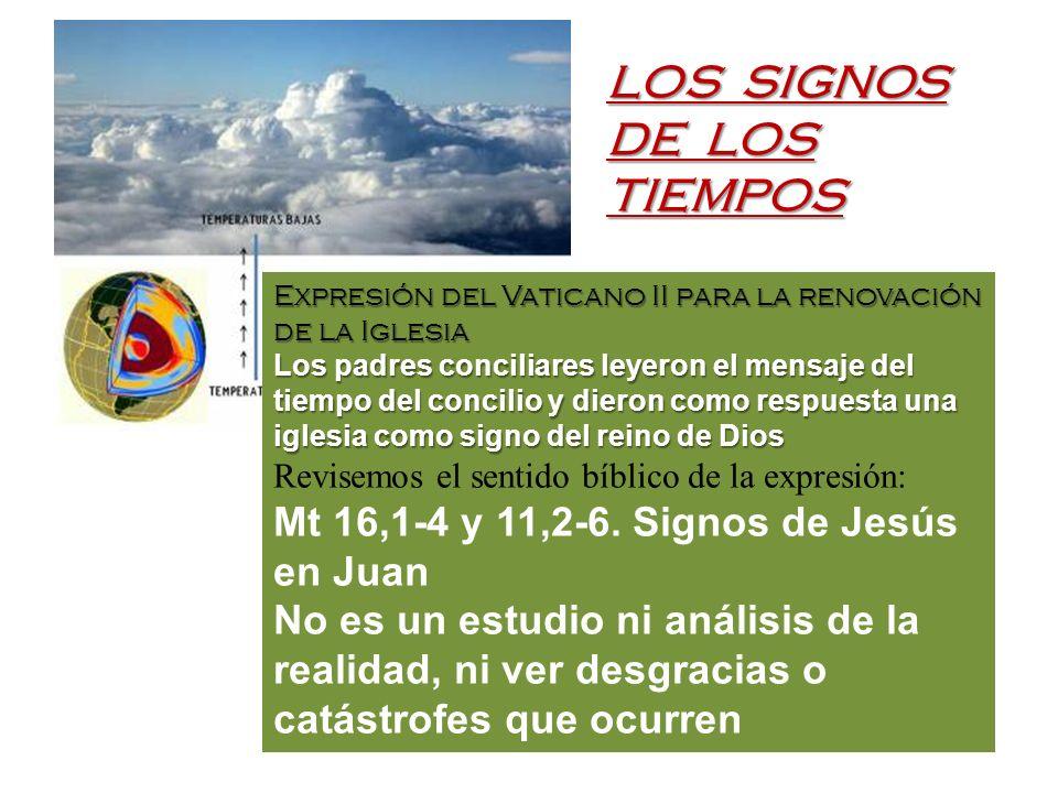LOS SIGNOS DE LOS TIEMPOS Expresión del Vaticano II para la renovación de la Iglesia Los padres conciliares leyeron el mensaje del tiempo del concilio