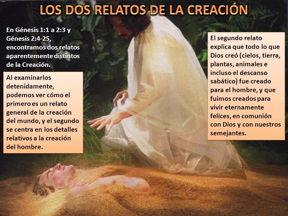 En Génesis 1:1 a 2:3 y Génesis 2:4-25, encontramos dos relatos aparentemente distintos de la Creación. El segundo relato explica que todo lo que Dios