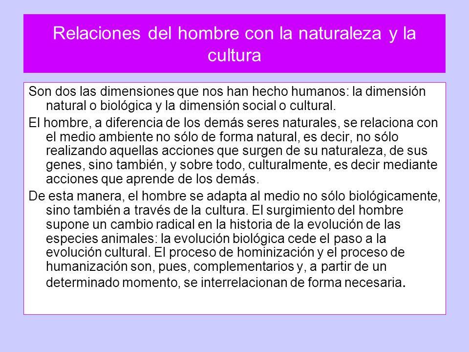 Relaciones del hombre con la naturaleza y la cultura Son dos las dimensiones que nos han hecho humanos: la dimensión natural o biológica y la dimensió