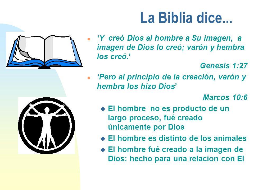 La Biblia dice... n Y creó Dios al hombre a Su imagen, a imagen de Dios lo creó; varón y hembra los creó. Genesis 1:27 n Pero al principio de la creac