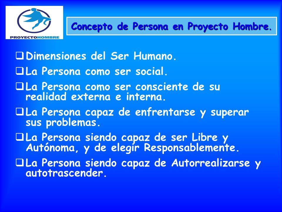 Concepto de Persona en Proyecto Hombre. Dimensiones del Ser Humano. La Persona como ser social. La Persona como ser consciente de su realidad externa