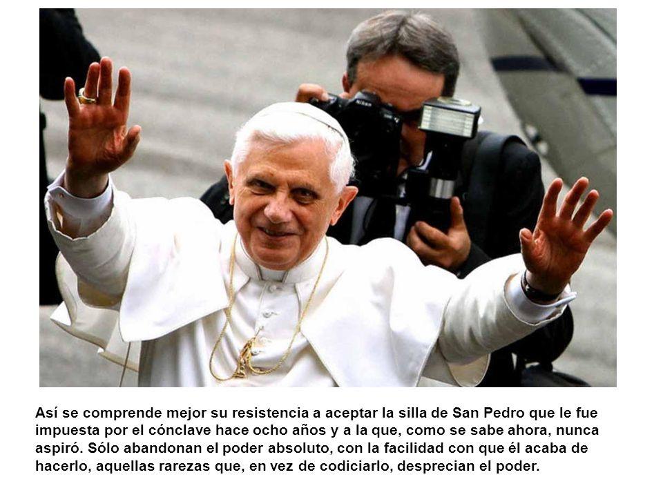 No sé por qué ha sorprendido tanto la abdicación de Benedicto XVI; aunque excepcional, no era imprevisible. Bastaba verlo, frágil y como extraviado en