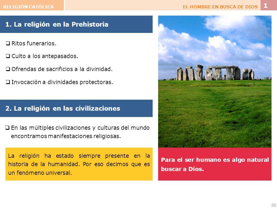 1. La religión en la Prehistoria Para el ser humano es algo natural buscar a Dios. 2. La religión en las civilizaciones Ritos funerarios. Culto a los